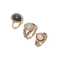 Faux Stone Burnished Ring Set