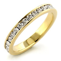 Gold Plated Swavorski Elements Crystal Eternity Ring