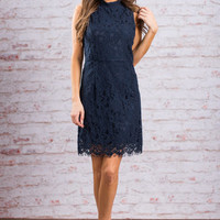 Lace To The Party Dress, Navy