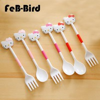 Cartoon Hello Kitty Home Kitchen Dinner Set Fork and Spoon, Accessories for Bento Lunch Box for Kids Girls Gift