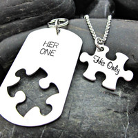 Her One His Only - His and Hers Necklace and Keychain Set - Puzzle Piece - Matching - Couples Jewelry