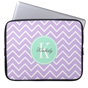 Lilac Chevron with Mint Monogram Laptop Computer Sleeve,Laptop Sleeve Macbook Pro 13,Laptop Case Macbook Pro 15,Birthday Gift For Her