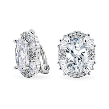 Art Deco Oval Halo Crown CZ Statement Clip On Earring Silver Plated