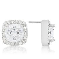 8mm Pave Halo Earrings