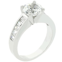 Classic Silvertone Engagement Ring, size : 10