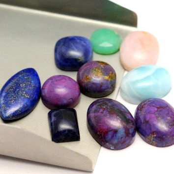 78.54CTS 10 Pieces Mix Stone Lapis Lazuli Marquise Cabochon Blue Color Gemstone Turquoise Pink Opal Natural Free Size Purple Turquoise Cab