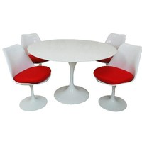 Lily Fiberglass Dining set 36 Inch | Red