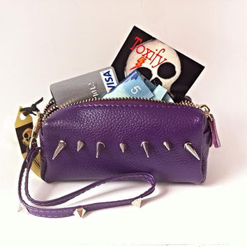 Spiked Genuine Leather Purple Clutch Coin Purse Wallet with Key Ring & Zippered Compartments + Carry Strap