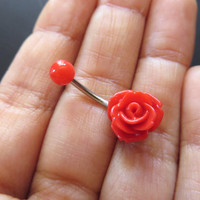 Red Rose Bud Belly Button Ring Flower Floral Rosebud Navel Jewelry Piercing Bar Barbell