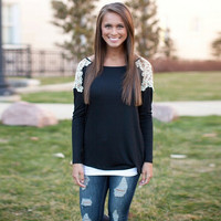 Black Lace Long Sleeve T-Shirt