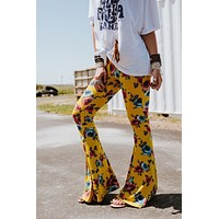 Cher Printed Flare Pants - Sunshine Floral