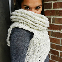 Huntress Crossbody Cowl, Vest, ecru, oatmeal, grey scarf, crocheted harness, neutral cowl, crochet cowl vest scarf shawl