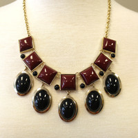 Boutique Necklace - Maroon and Black