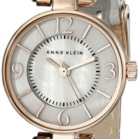 Anne Klein Women's AK/2030RGTP Rose Gold-Tone Watch With Grey Leather Band