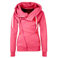 Casual Front Zipper Long Sleeve Solid Color Hooded Jacket