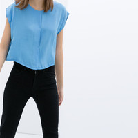 BLOUSE WITH CROPPED SLEEVE
