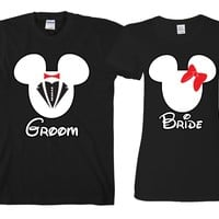 "Bride ad Groom Cartoon ""Cute Couples Matching T-shirts"""