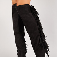 Fringe Stiletto Platform Thigh High Boot