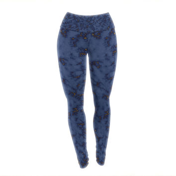 """Will Wild """"Blue & Gold Marble"""" Navy Abstract Yoga Leggings"""