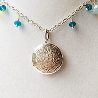 Floral Silver Locket & Teal Blue and Opalescent Dangly Crystal Silver Necklace, Gifts For Her