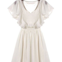 White V-Neck Ruffled Chiffon Dress