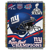 New York Giants NFL Super Bowl Commemorative Woven Tapestry Throw (48x60)