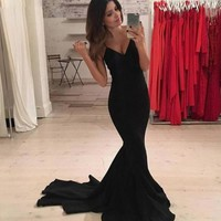 Mermaid Spaghetti Straps Long Prom Dress Gown
