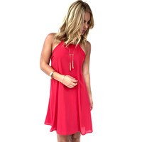 After Party Trapeze Dress In Red