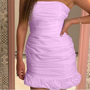 New fashion sexy bag hip folds wrapped chest ruffled short skirt women