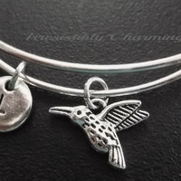 Cute little hummingbird Stainless Steel Expandable Bangle, monogram personalized custom gifts, choose your initial style item No.529