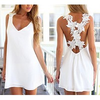 fhotwinter19 Hot sale white halter lace sleeveless dress