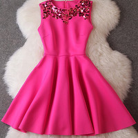 Pink Sequined Sleeveless Flounce Dress