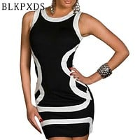 TOP Summer Women O-Neck Sexy Dress Pink White Black Geometric Tank Style Dresses Clubwear Night Club wear  Plus size  20  8923