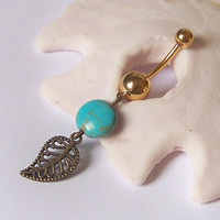 Gold Belly Button Ring - Gold Belly Ring - Belly Button Jewelry - Antiqued Brass Filigree Leaf with Magnesite Cion - Choose Your Ring Style