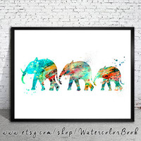 Elephant Family 2 Watercolor Print, Fine Art Print,Children's Wall Art,animal watercolor,watercolor painting, elephant watercolor,animal art