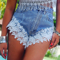 Lace shorts Levis high waisted shorts Lace denim shorts by Jeansonly