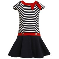 Bonnie Jean LITTLE GIRLS 4-6X NAVY-BLUE WHITE RED KNOT TIE NECKLINE TWIN STRIPED DROP WAIST KNIT Nautical Resort Sailor Dress