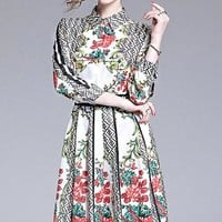 FENDI Newest Popular Women Sweet Print Long Sleeve Lapel Dress