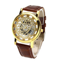 Classic Men's Gold Dial Skeleton Sport Army Wrist Watch