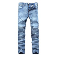Ripped Holes Stretch Strong Character Jeans [454562054173]
