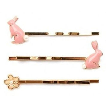 Pink bunnies and flower hairpin set