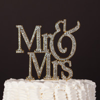 Mr & Mrs Modern Wedding Cake Topper - Gold