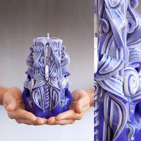 Purple candle - Carved candles
