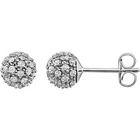 14K White Gold Gorgeous diamond Cluster Ball Earrings