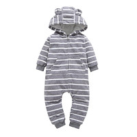 Infant baby boys clothes casual Unisex newborn baby rompers Fleece stripe long sleeve hooded one piece clothing Overalls