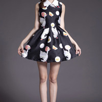Black Polka Bird Print Pointed Flat Collar Sleeveless A-Line Pleated Mini Dress