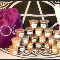 Witch Herb Set 20 Unusual Magical Herbs Flowers Roots and Berries Starter Kit in Triple Moon Velvet Bag for Rituals Altar Pagan Wicca Spells