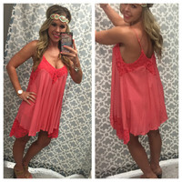 Coral of My Soul Tunic Dress