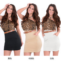 Fashion Leather Halter Neck Sexy Erotic  Pencil Mini Skirt Dress Strap Leather Belt _ 10359