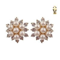 Pearl And Rhinestone Studded Floral Clip Earrings